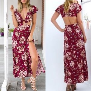 Florals butterfly cut out maxi summer spring dress